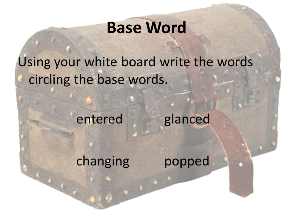 Base Word Using your white board write the words circling the base words.