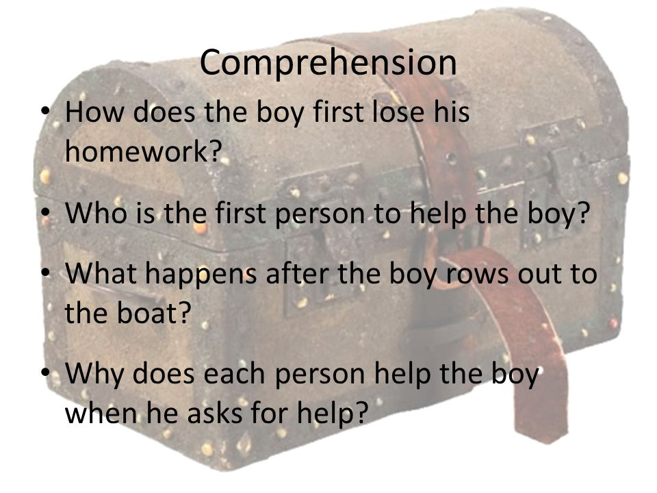 Comprehension How does the boy first lose his homework