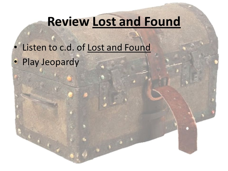 Review Lost and Found Listen to c.d. of Lost and Found Play Jeopardy