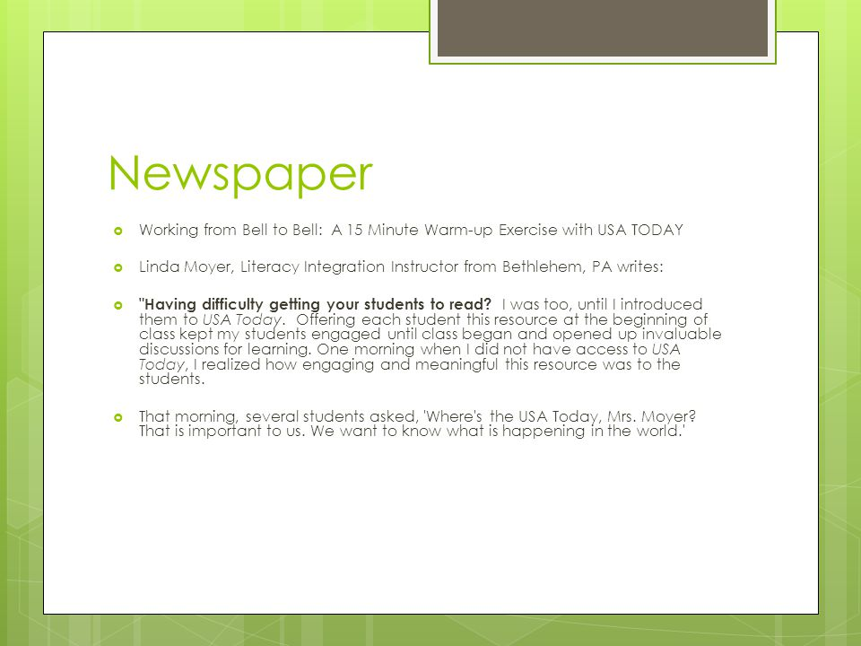 Newspaper Working from Bell to Bell: A 15 Minute Warm-up Exercise with USA TODAY.