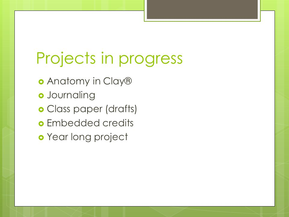 Projects in progress Anatomy in Clay® Journaling Class paper (drafts)