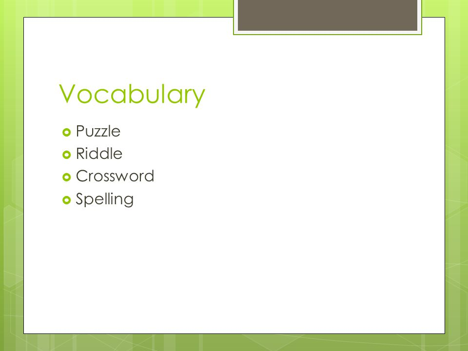 Vocabulary Puzzle Riddle Crossword Spelling See example on HO