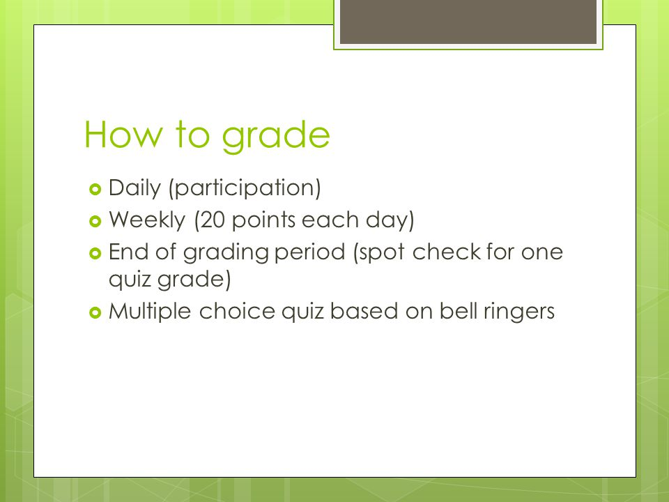 How to grade Daily (participation) Weekly (20 points each day)