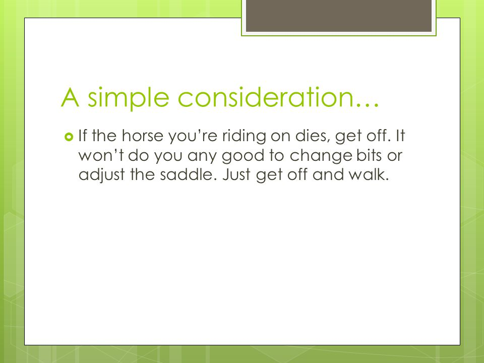 A simple consideration…
