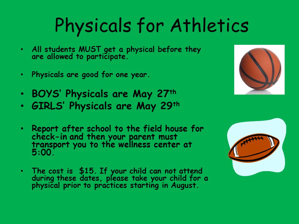Physicals for Athletics