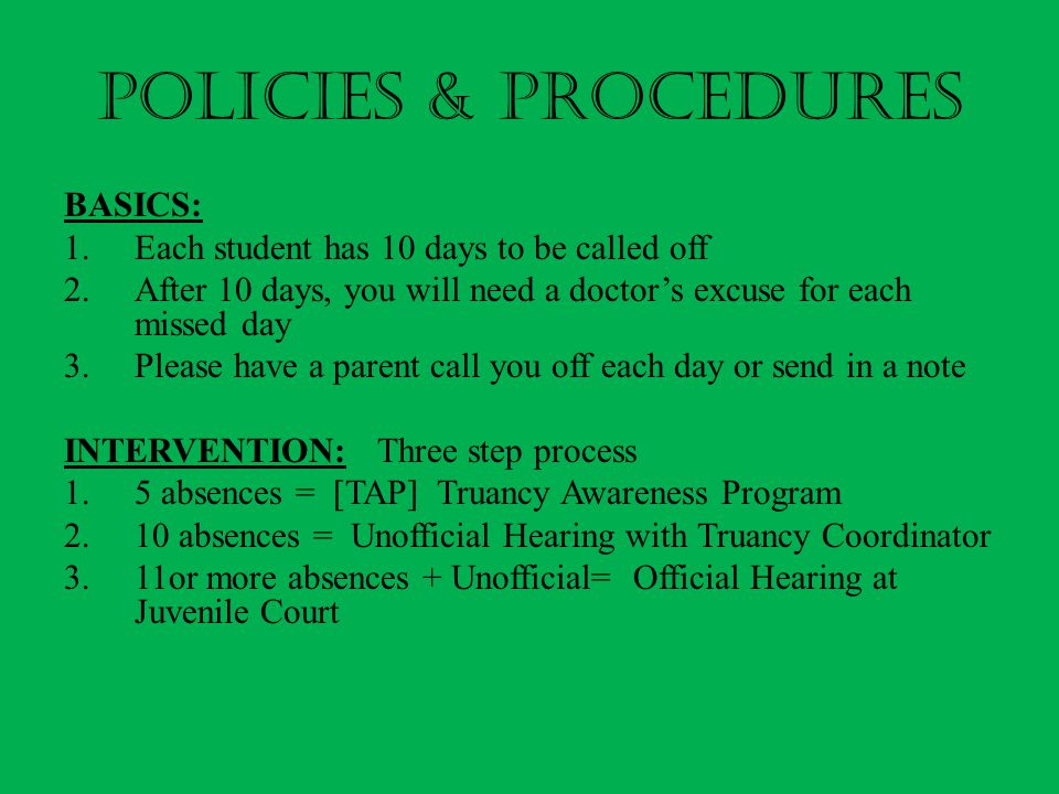 POLICIES & PROCEDURES BASICS: