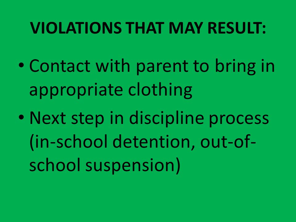 VIOLATIONS THAT MAY RESULT: