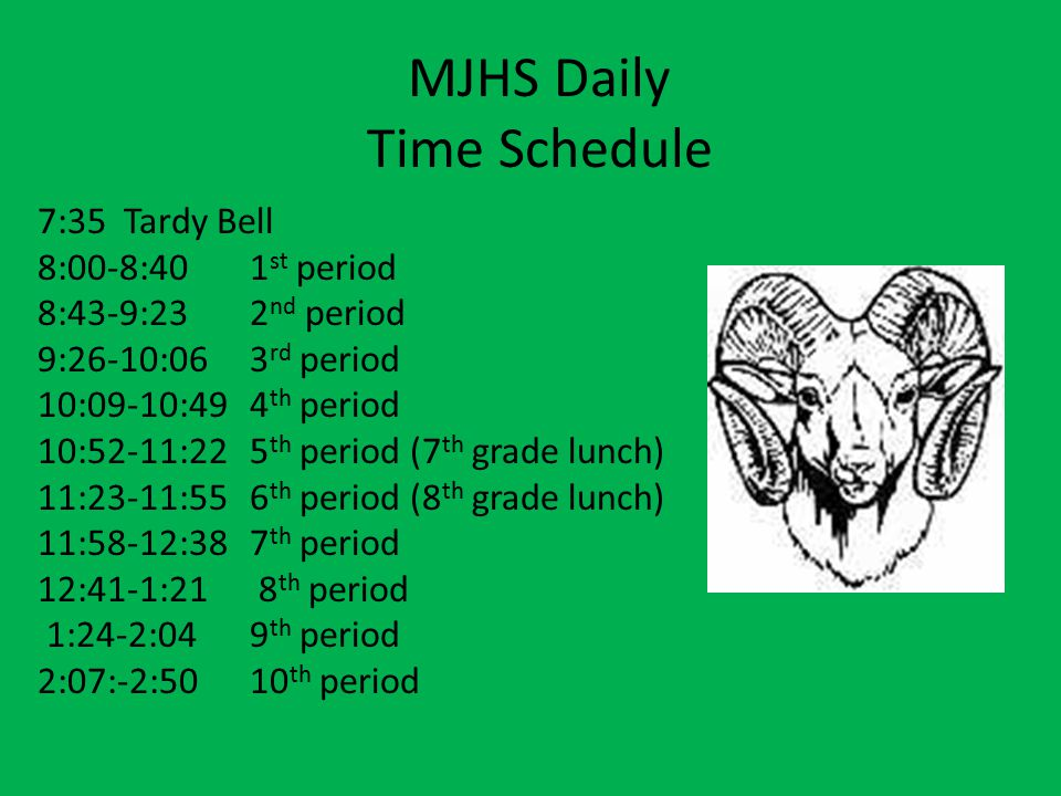 MJHS Daily Time Schedule
