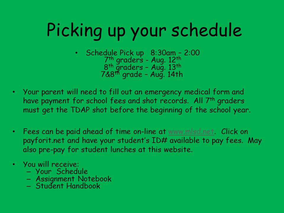 Picking up your schedule