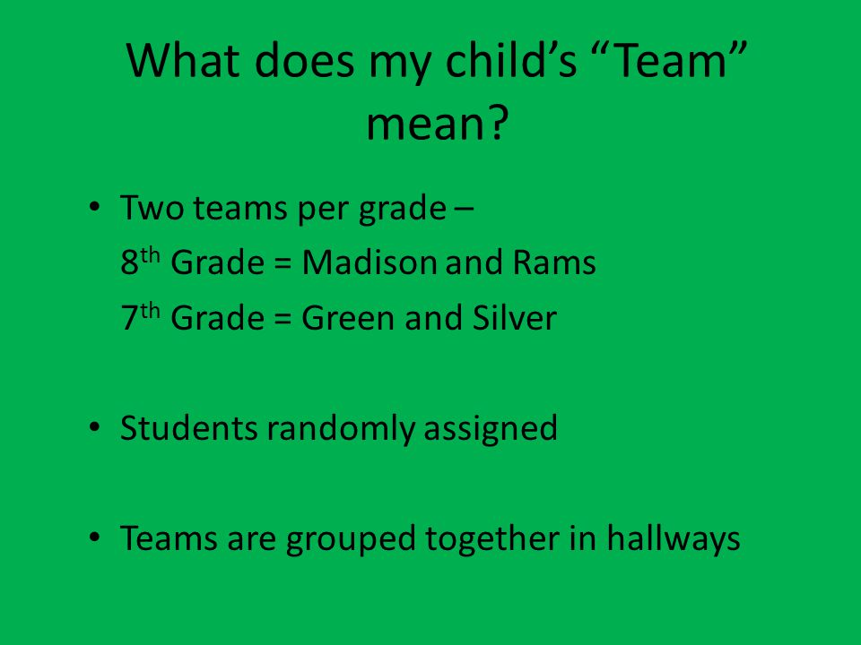What does my child's Team mean