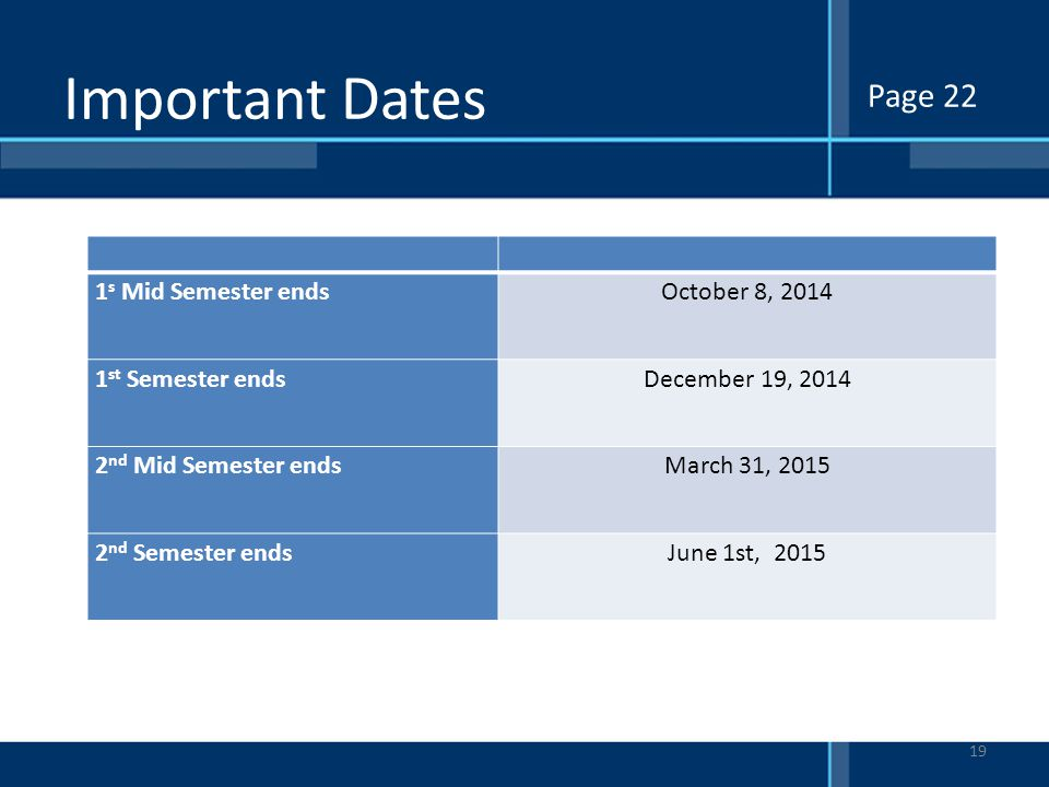 Important Dates Page 22 1s Mid Semester ends October 8, 2014