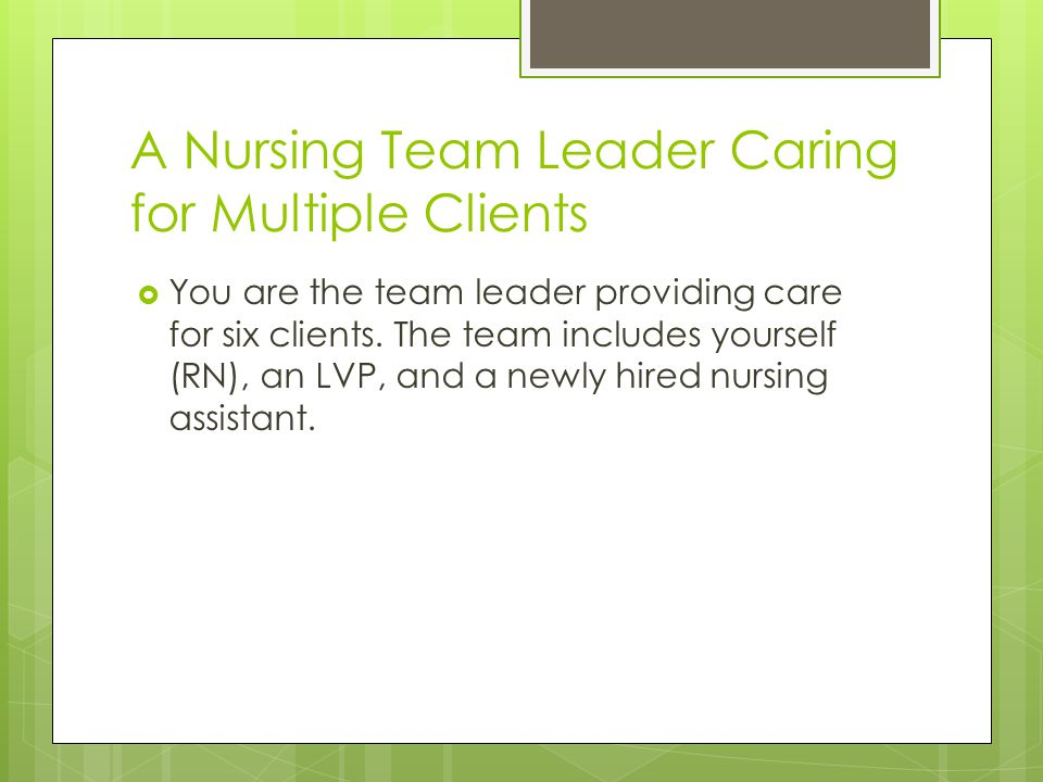 A Nursing Team Leader Caring for Multiple Clients
