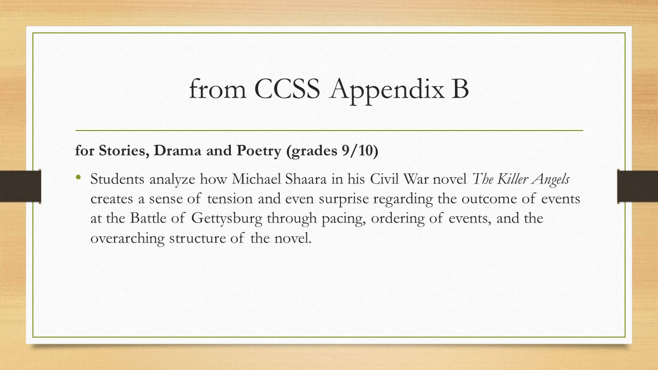 from CCSS Appendix B for Stories, Drama and Poetry (grades 9/10)