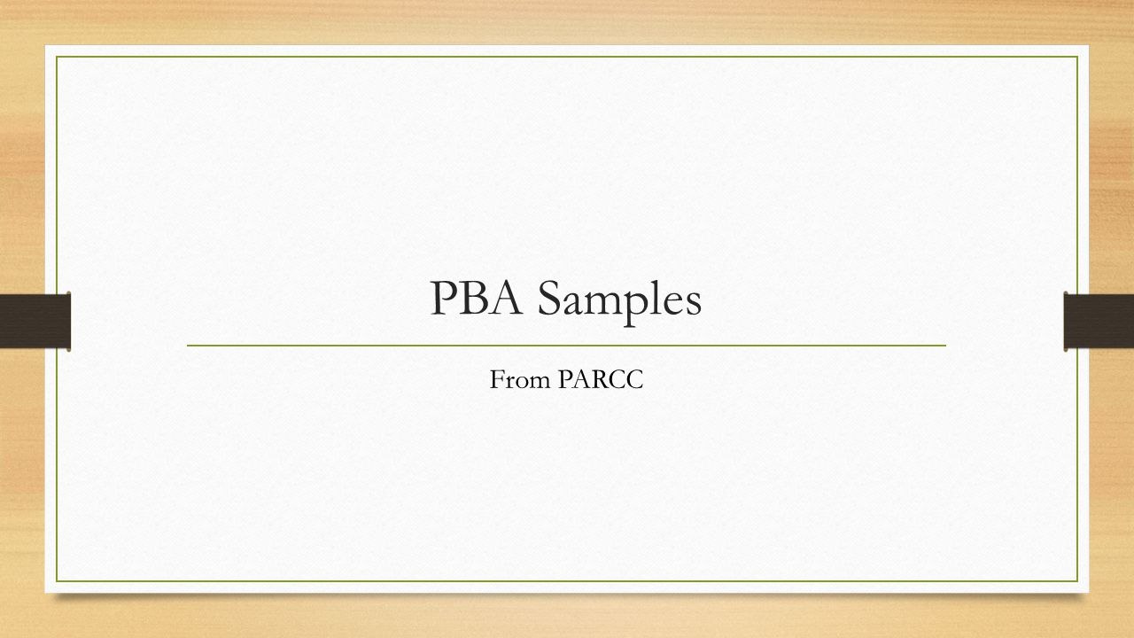 PBA Samples From PARCC