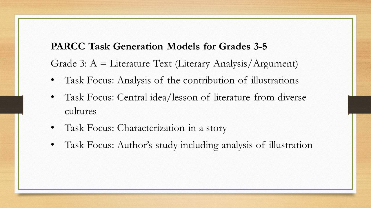 PARCC Task Generation Models for Grades 3-5