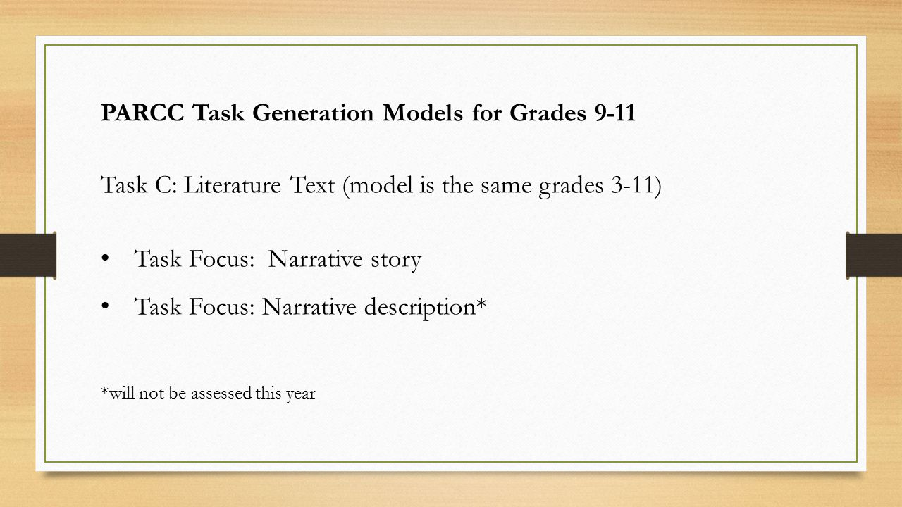 PARCC Task Generation Models for Grades 9-11