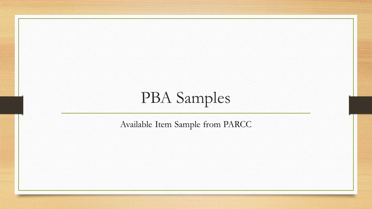 Available Item Sample from PARCC