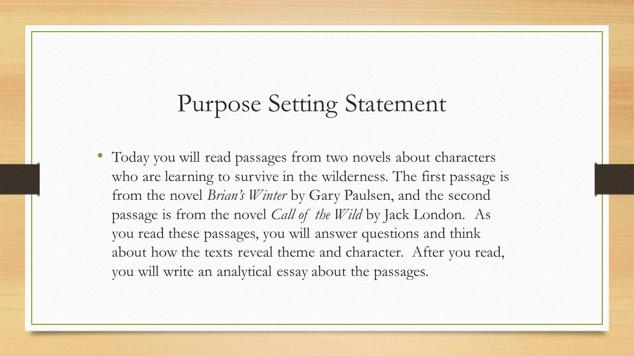 Purpose Setting Statement