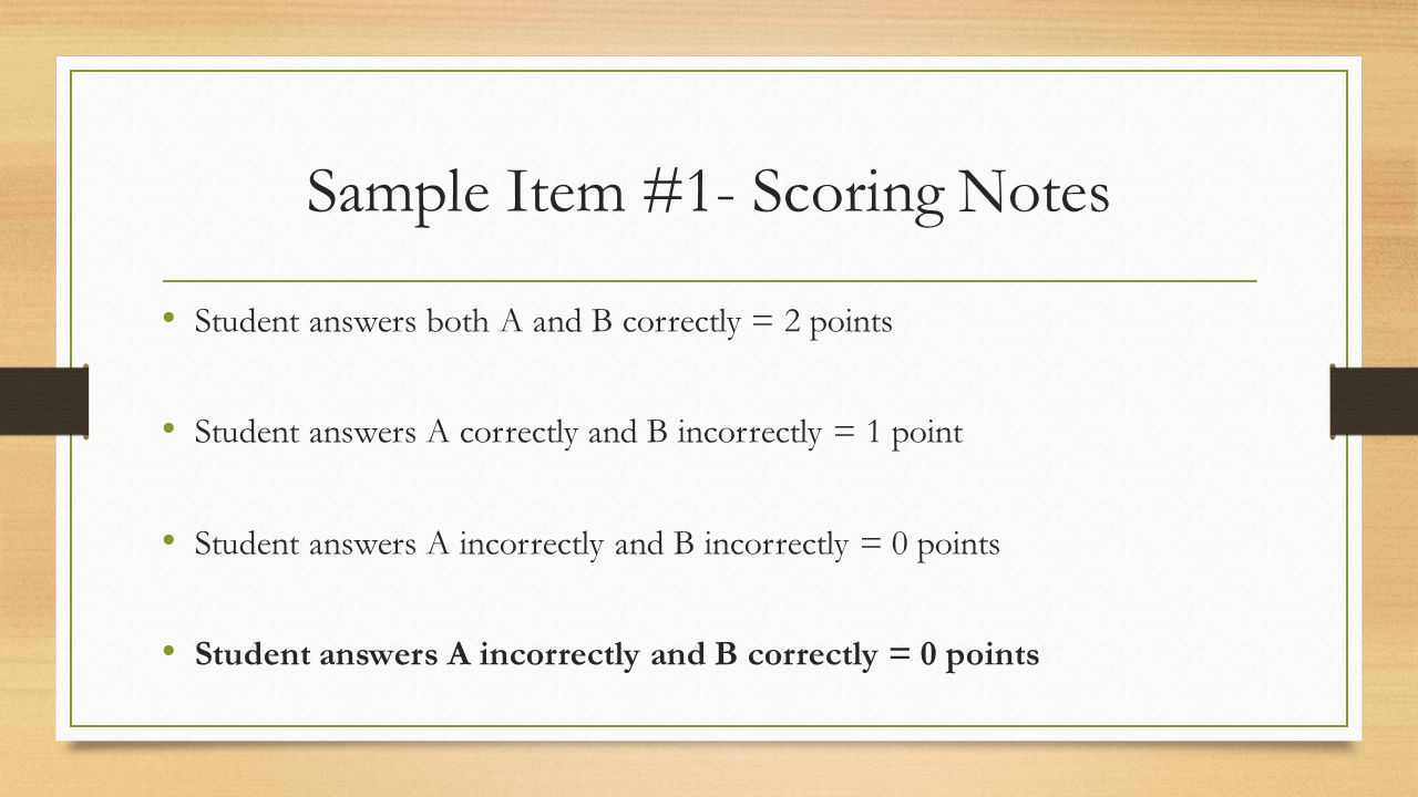 Sample Item #1- Scoring Notes