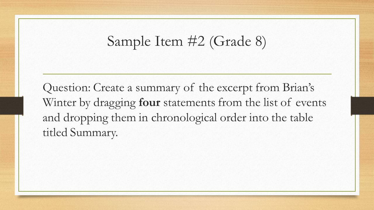 Sample Item #2 (Grade 8)
