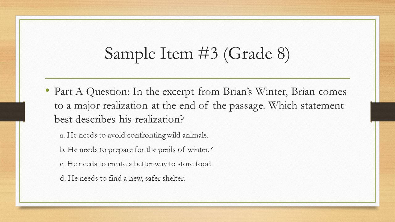 Sample Item #3 (Grade 8)