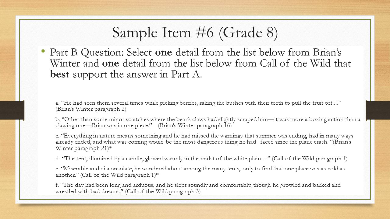Sample Item #6 (Grade 8)
