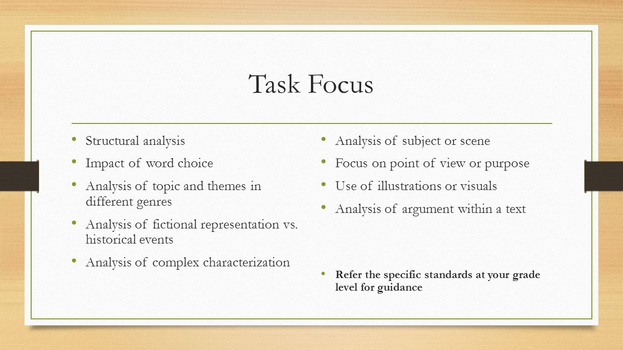 Task Focus Structural analysis Impact of word choice