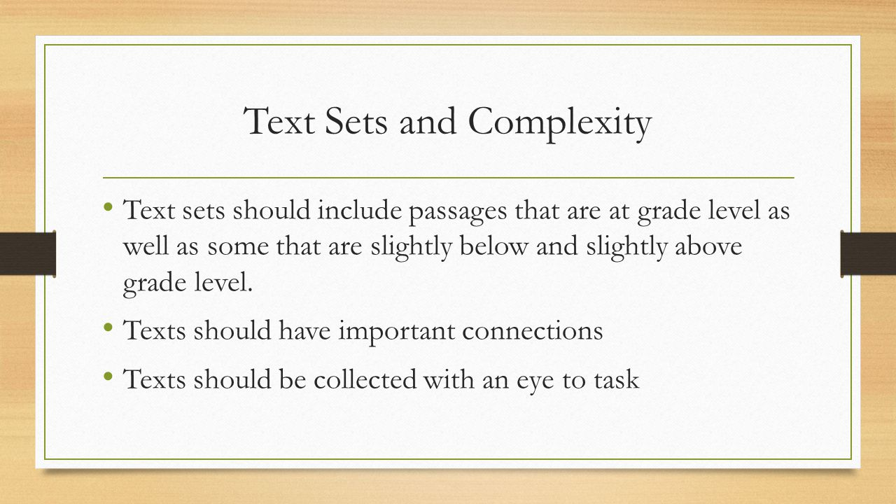 Text Sets and Complexity