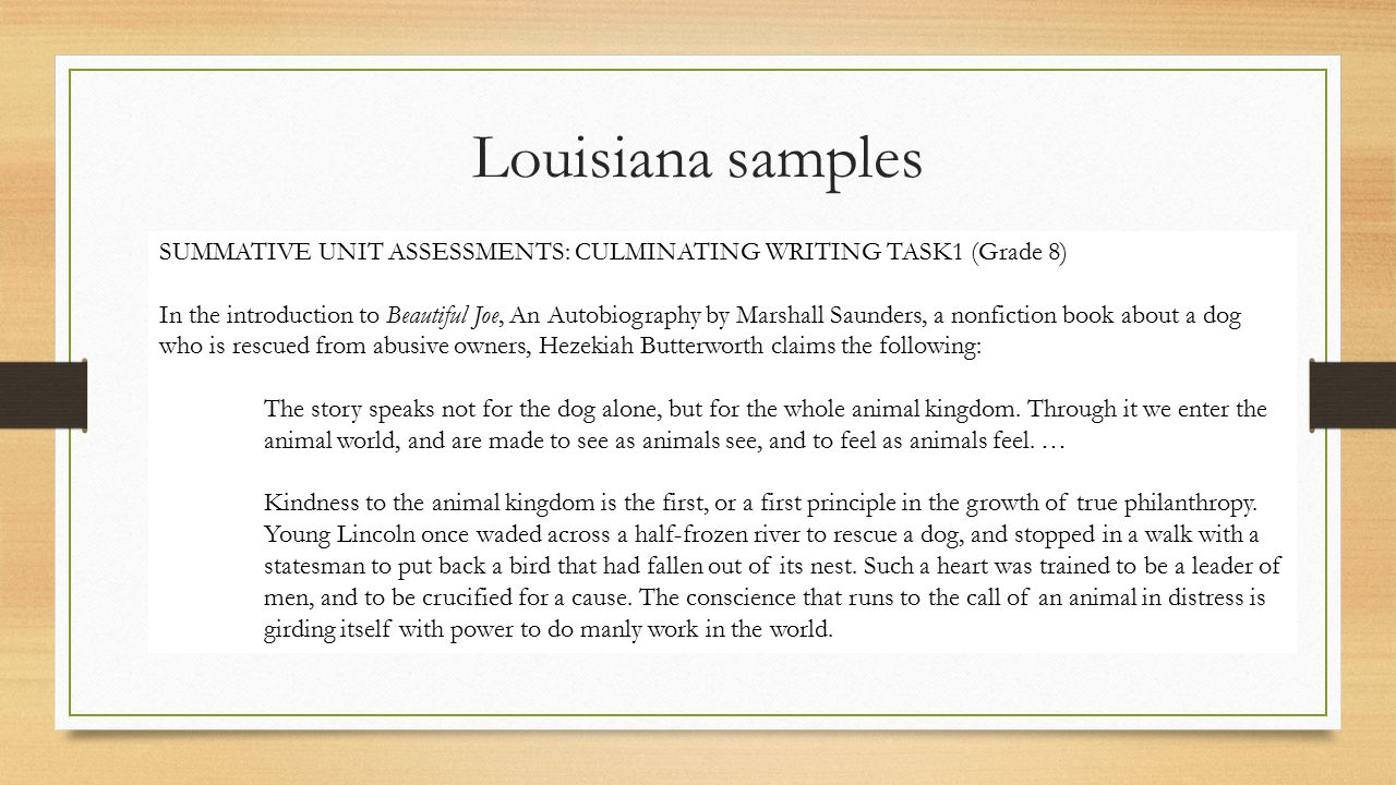 Louisiana samples SUMMATIVE UNIT ASSESSMENTS: CULMINATING WRITING TASK1 (Grade 8)