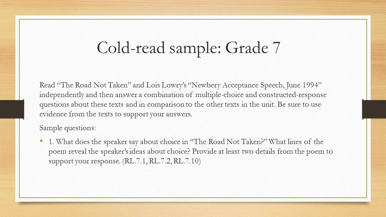 Cold-read sample: Grade 7