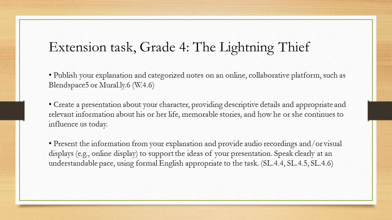 Extension task, Grade 4: The Lightning Thief