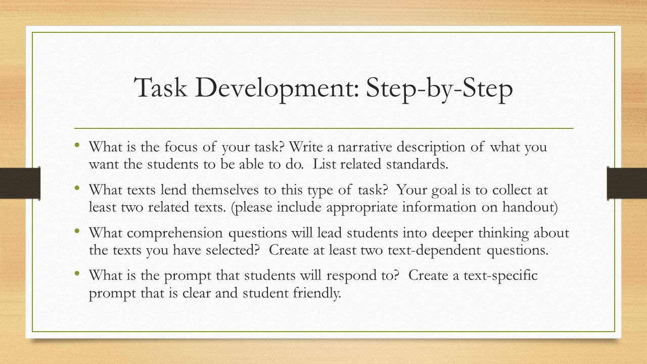 Task Development: Step-by-Step