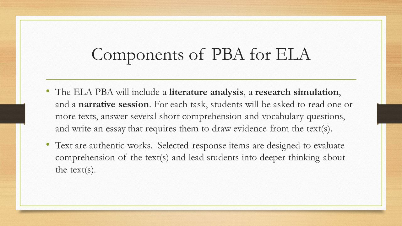 Components of PBA for ELA