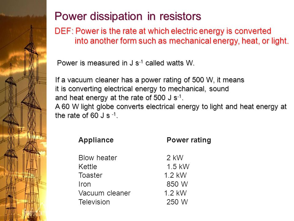 Power dissipation in resistors