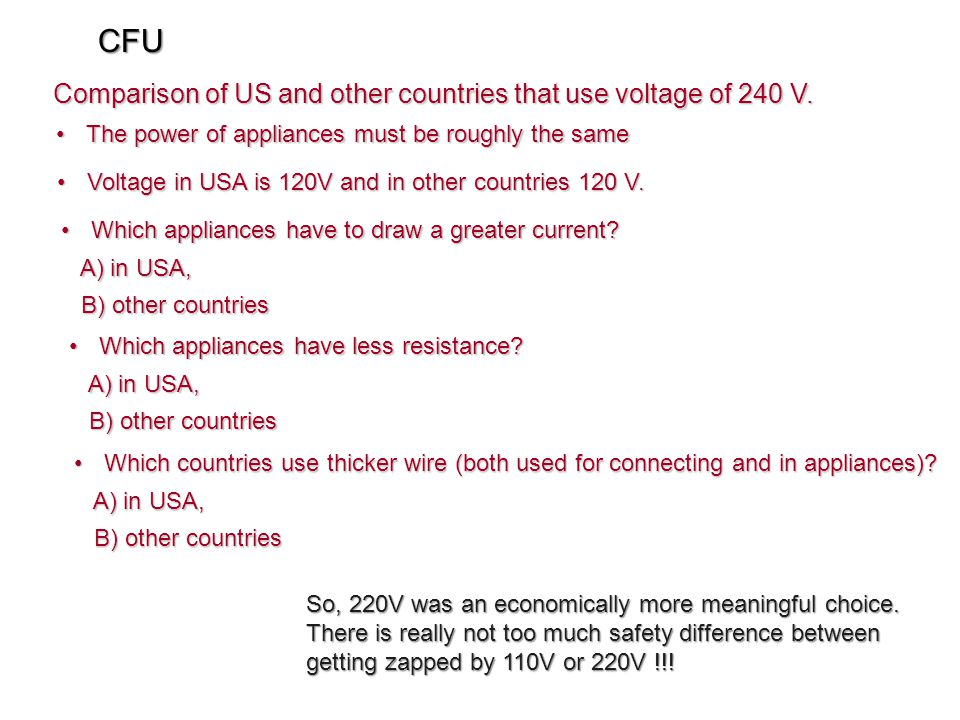 CFU Comparison of US and other countries that use voltage of 240 V.
