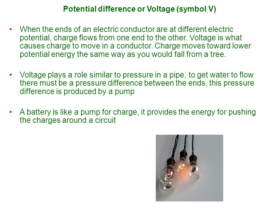 Potential difference or Voltage (symbol V)
