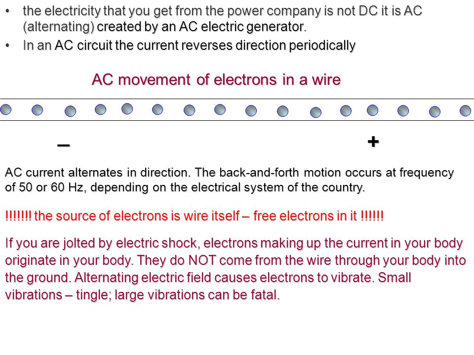 AC movement of electrons in a wire