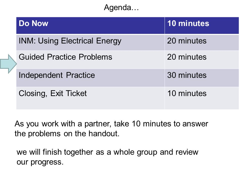 Agenda… Do Now. 10 minutes. INM: Using Electrical Energy. 20 minutes. Guided Practice Problems.