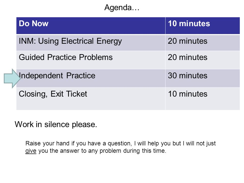 INM: Using Electrical Energy 20 minutes Guided Practice Problems