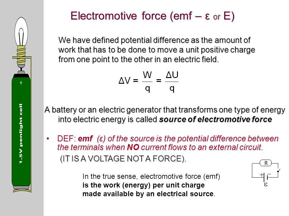 Electromotive force (emf – ε or E)