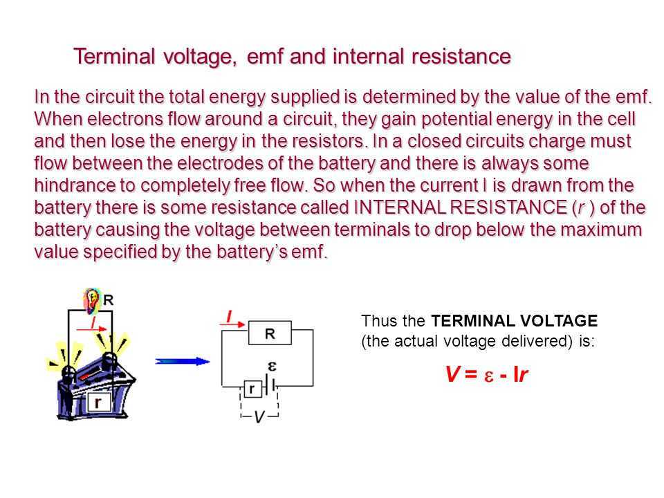 Terminal voltage, emf and internal resistance