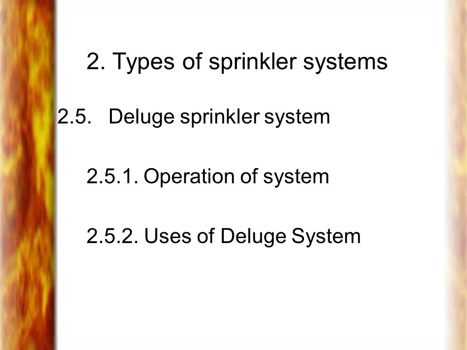 2. Types of sprinkler systems