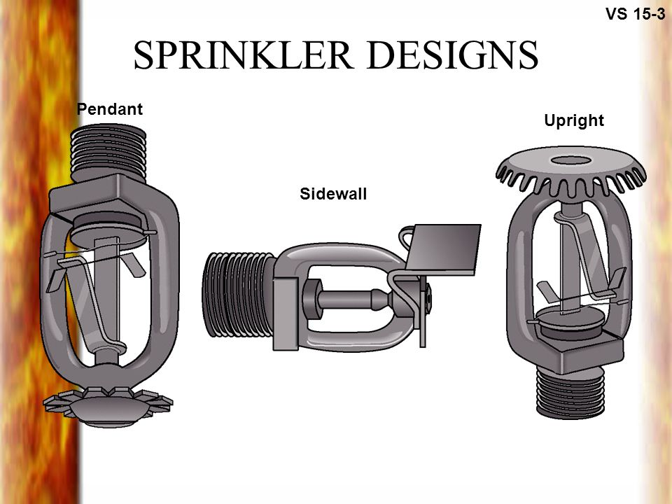 VS 15-3 SPRINKLER DESIGNS Pendant Upright Sidewall