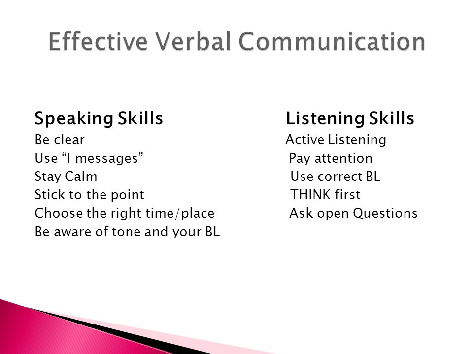 Effective Verbal Communication