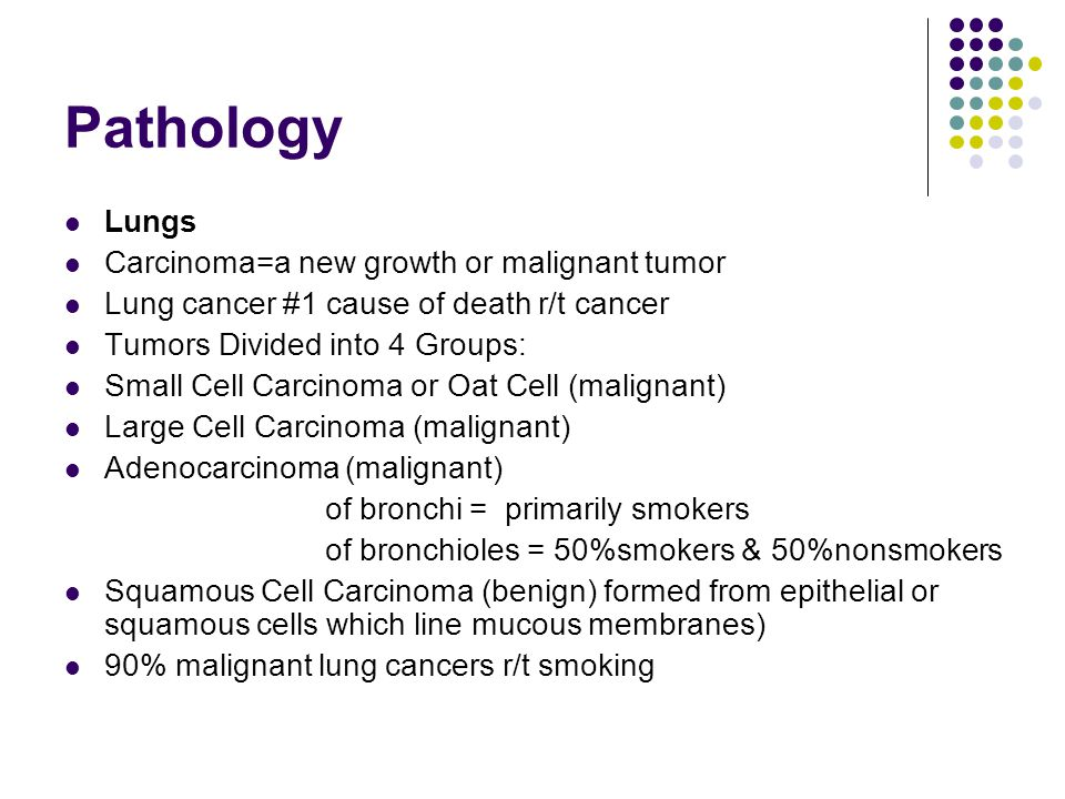 Pathology Lungs Carcinoma=a new growth or malignant tumor