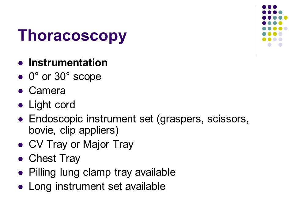 Thoracoscopy Instrumentation 0° or 30° scope Camera Light cord