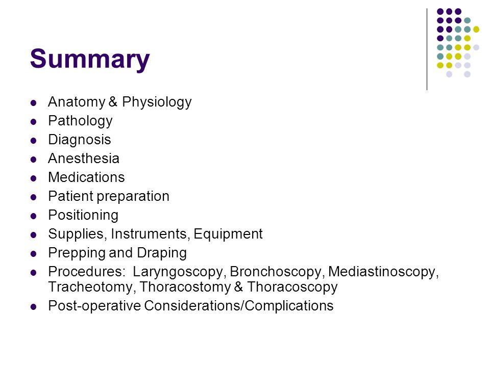 Summary Anatomy & Physiology Pathology Diagnosis Anesthesia