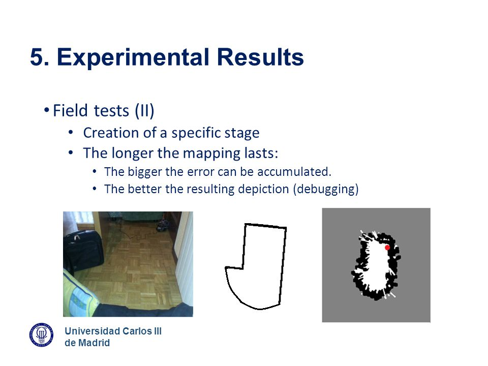 5. Experimental Results Field tests (II) Creation of a specific stage