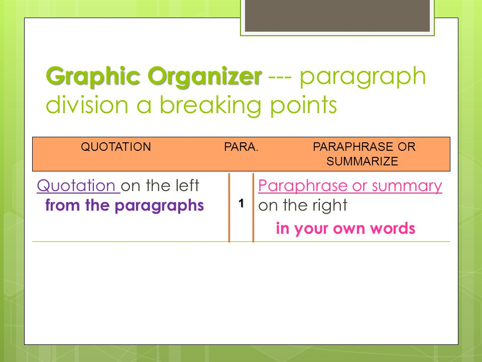 Graphic Organizer --- paragraph division a breaking points