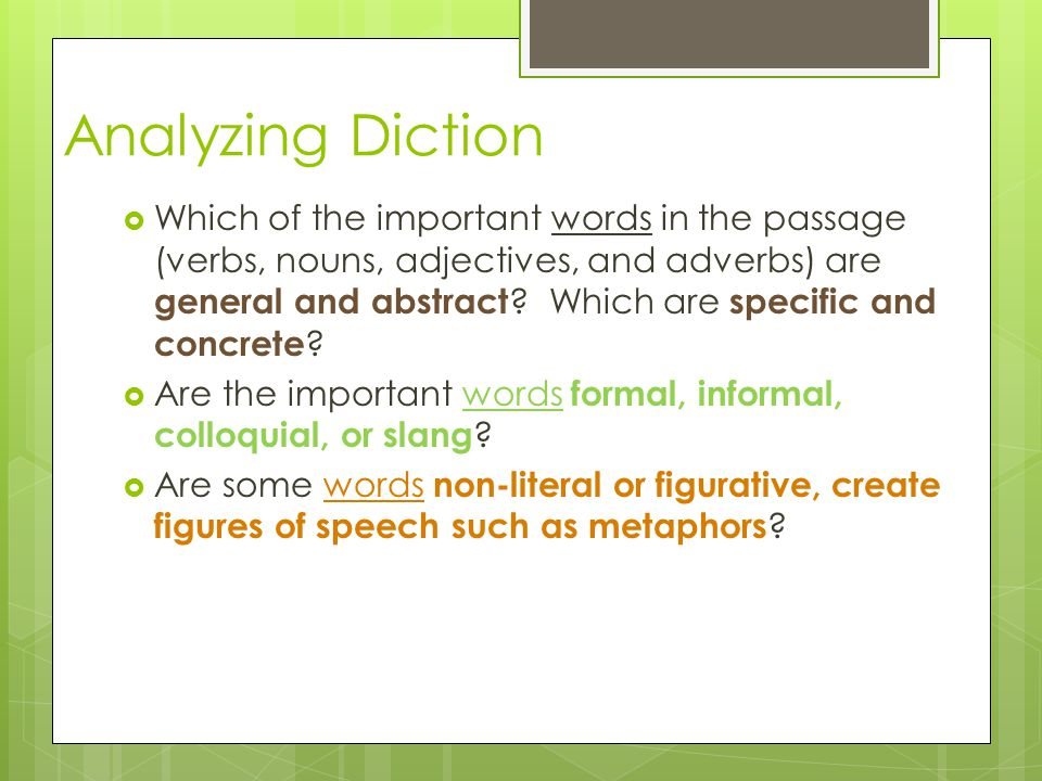 Analyzing Diction